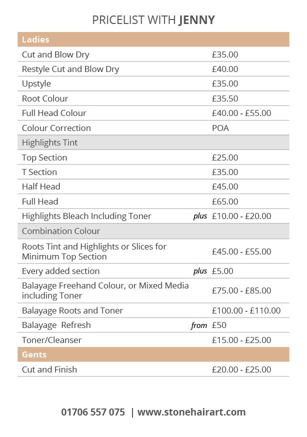 stonehairart - jenny price list
