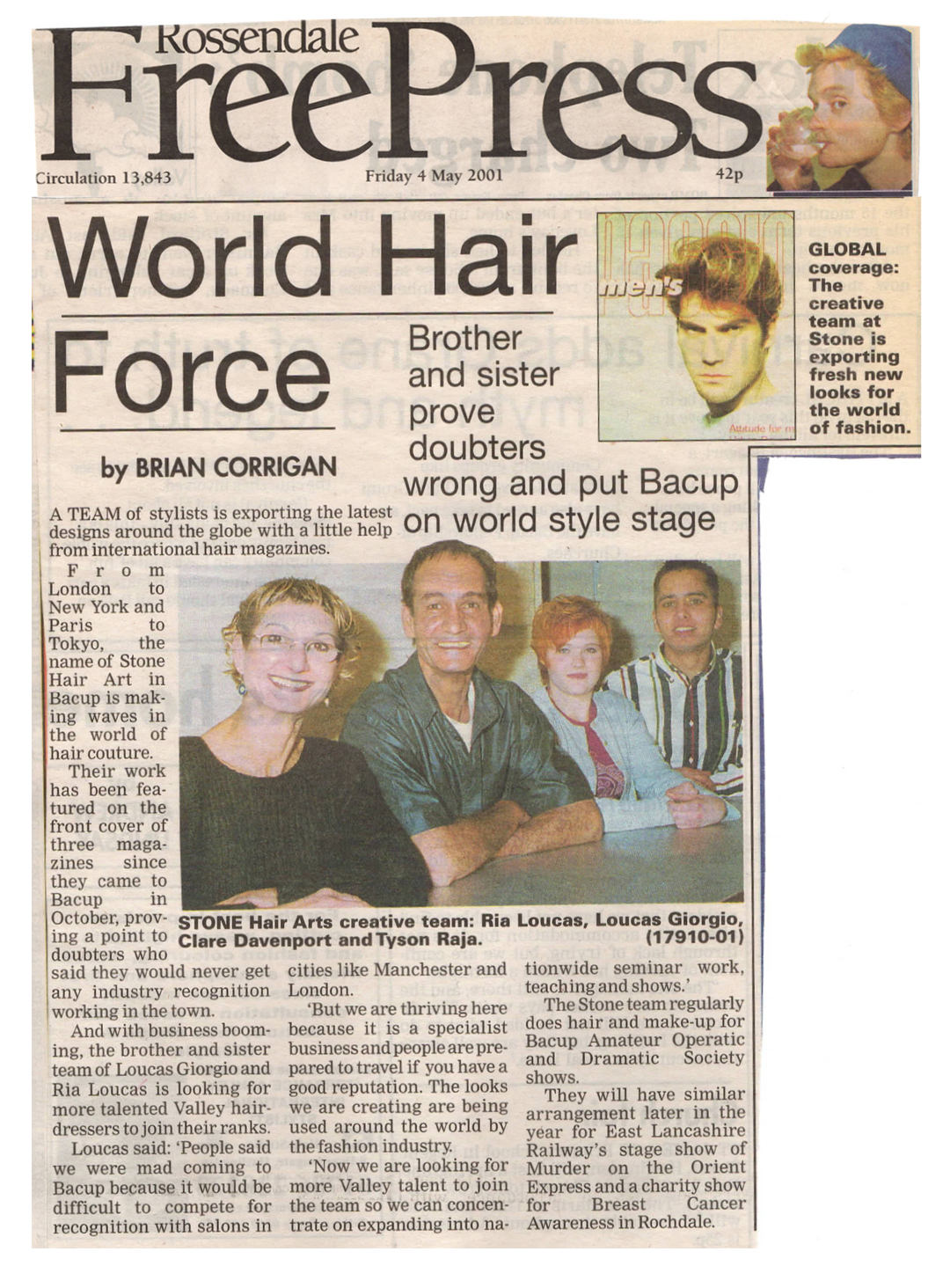 World Hair Force clip - Rossendale FreePress - Friday 4th May 2001
